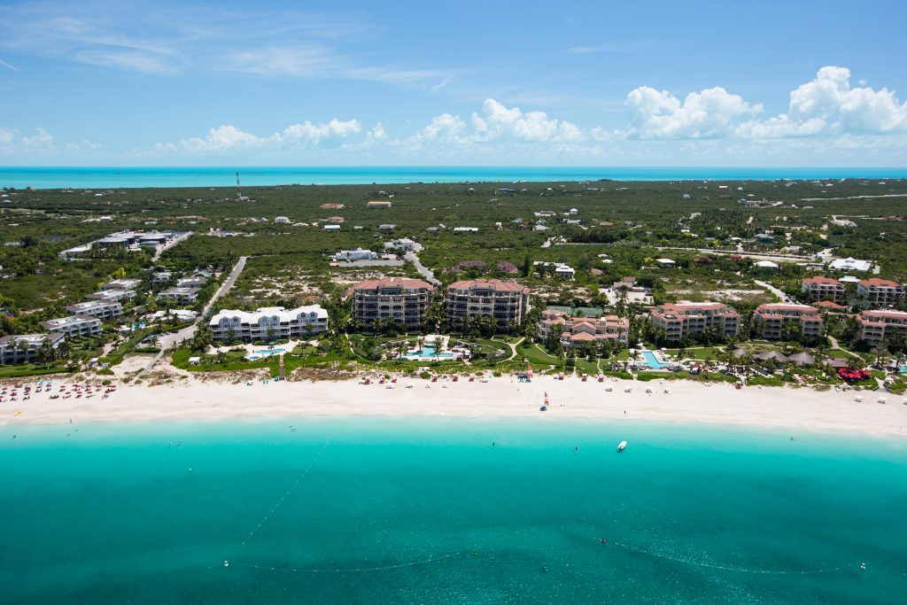 A scenic aerial view of Grace Bay, Providenciales