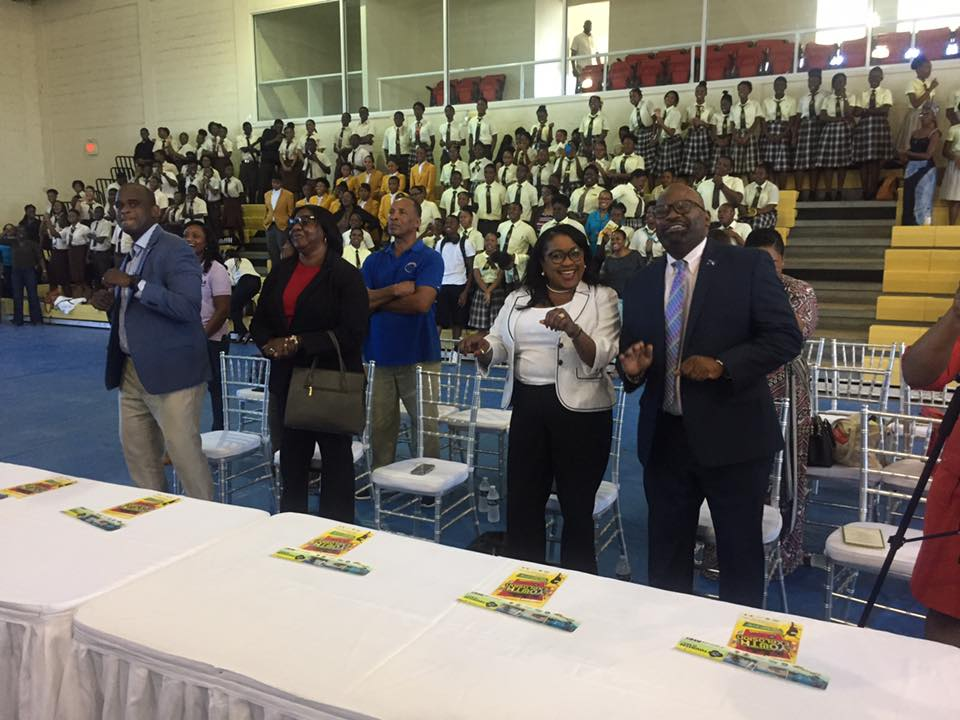 Minister of Education, Hon. Josephine Connolly and Minister of Tourism, Hon. Ralph Higgs joined senior high school students in the fun and festivities at the T.E.A.M. Youth Explosion 2017