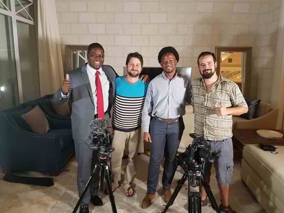Tourist Board Team with airline in-flight video production crew