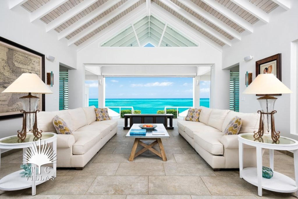 Cascade Villa Living Room- Turks and Caicos Villa rentals