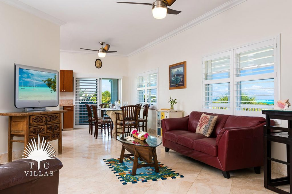 Living Room Reef Pearl Turks and Caicos beach house rental