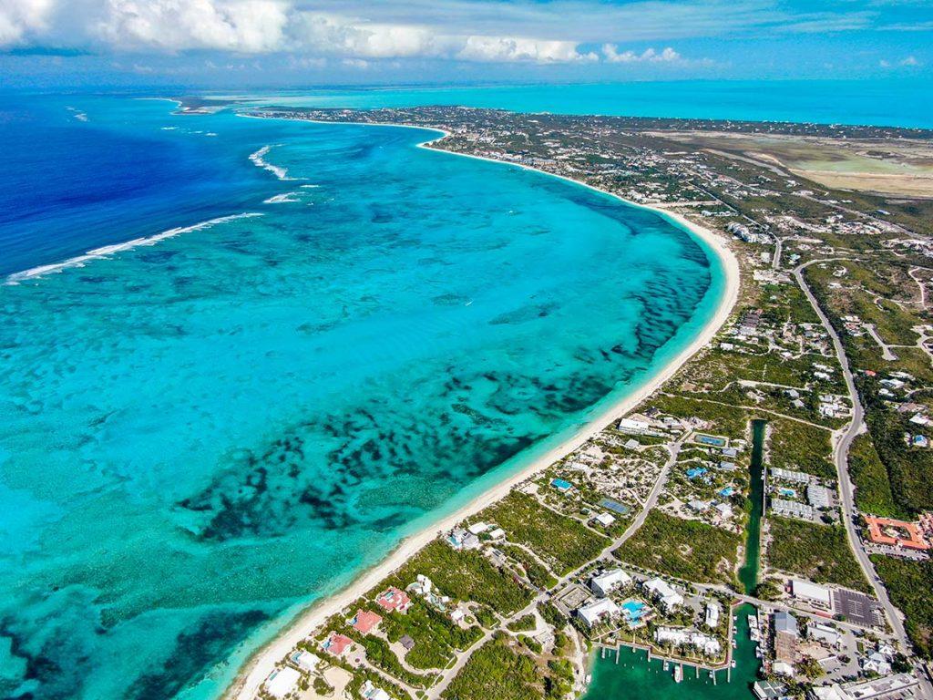 Grace Bay Beach aerial